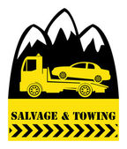 Car salvage and towing — Stock Vector