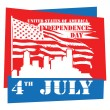 Fourth of July Independence Day sign — Stock Vector