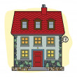 House with red roof — Stock Vector