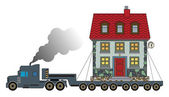 Truck delivers the house — Stock Vector