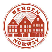 Bergen, Norway stamp — Stock Vector