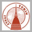 Stock Vector: Turin, Italy stamp