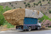 Overloaded truck staying on road — Stock Photo