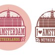 Stock Vector: Love Amsterdam, Netherlands stamp