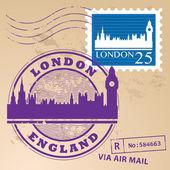 伦敦,英国邮票 — 图库矢量图片