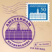Amsterdam, Netherlands stamp — Vecteur