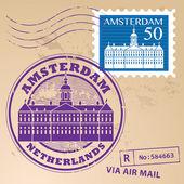 Amsterdam, timbre pays-bas — Vecteur