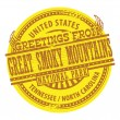 Greetings from Great Smoky Mountains label — Stock Vector