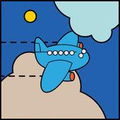 Flying vliegtuig — Stockvector