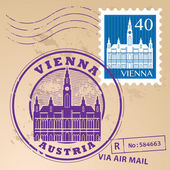 Vienna, Austria stamp set — Stock Vector