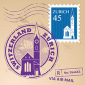 Zurich, Switzerland stamp set — Stock Vector