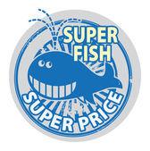 Super Fish - Super Price stamp — Stock Vector