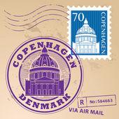 Copenhagen, Denmark stamp set — Stock Vector