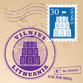 Vilnius, Lithuania stamp set — Stock Vector
