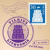 Vilnius, Lithuania stamp set — Stock Vector