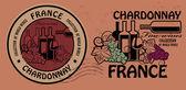 Vins fins, jeu de timbres de chardonnay — Vecteur