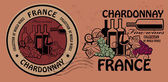 Zestaw wyśmienitych win, pieczęć chardonnay — Wektor stockowy