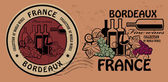 Fine Wines, Bordeaux stamp set — Vector de stock
