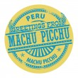 Greetings from Machu Picchu, Peru label — Stock Vector
