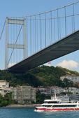 Transport on and under Ataturk Bridge — Stock Photo