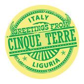 Saludos de cinque terre, etiqueta de italia — Vector de stock