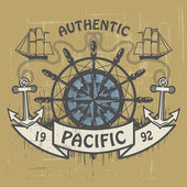 Authentic Pacific stamp — Stock Vector