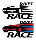 Drift race sign — Stock Vector