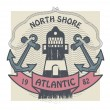North Shore, Atlantic label — Stock Vector