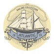 Atlantic Sailing stamp — 图库矢量图片