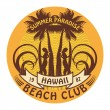 Hawaii surfer club sign — Stock Vector