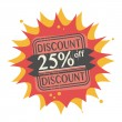 25 percent Off, Discount label — Stock Vector