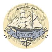 Atlantic Sailing stamp — Stock Vector