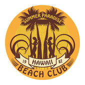 Hawaii surfer club sign — Vector de stock