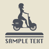Scooter Girl silhouette icon — Stock Vector