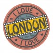 Grunge color stamp with text I Love London inside, vector illustration — Stock Vector #33126183
