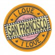 Grunge color stamp with text I Love San Francisco inside, vector illustration — Stock Vector