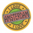 Grunge color stamp with text I Love Amsterdam inside, vector illustration — Stock Vector
