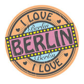 Grunge color stamp with text I Love Berlin inside, vector illustration — Stock Vector
