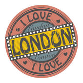 Grunge color stamp with text I Love London inside, vector illustration — Stock Vector