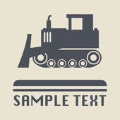 Bulldozer icon or sign, vector illustration — Stock Vector