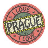 Grunge color stamp with text I Love Prague inside, vector illustration — Stock Vector