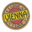 Stamp with text I Love Vienna — Stock Vector