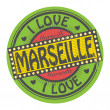 Stamp with text I Love Marseille — Stock Vector