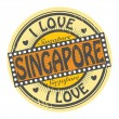 Stamp with text I Love Singapore — Vettoriali Stock