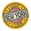 Stamp with text I New York — 图库矢量图片