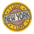 Stamp with text I New York — Stockvectorbeeld
