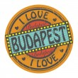 Stamp I Love Budapest — Stock Vector