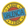 I Love Valencia — Stock Vector