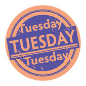 Tuesday written inside the stamp — Stock Vector