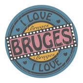 ブルージュを愛するスタンプ — ストックベクタ